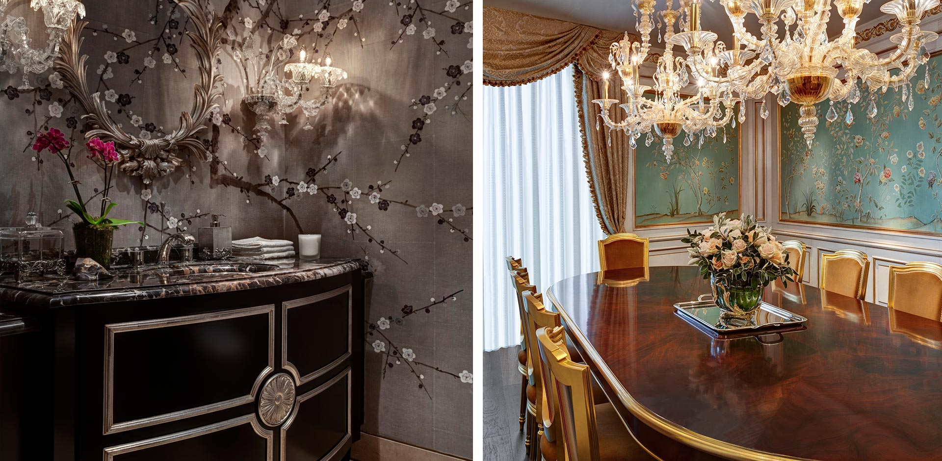One Hyde Park, London, UK - Dining Room and Powder Room